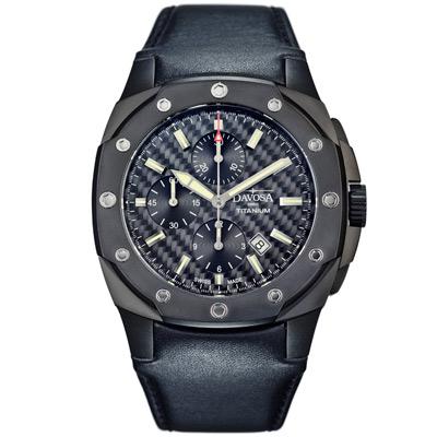 DAVOSA Titanium 鈦限量碳纖維錶盤計時碼錶-IP黑/47mm