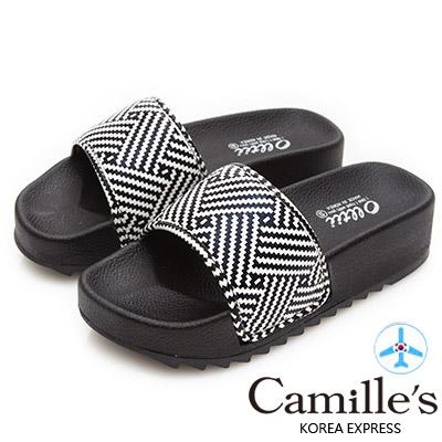 Camille's 韓國空運-正韓製-不對稱黑白條紋寬版一字厚底拖鞋-黑色