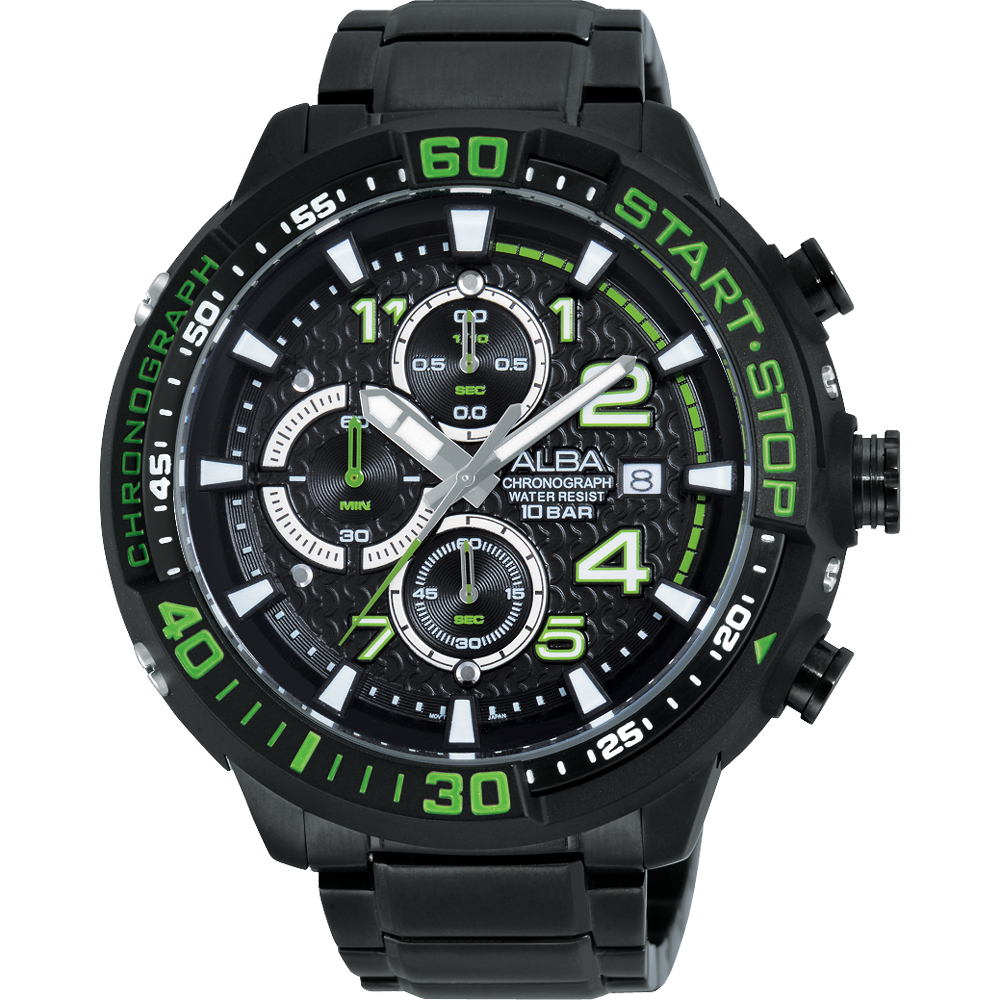 ALBA SignA 疾速奔馳計時腕錶(AM3101X1)-黑x綠/49mm