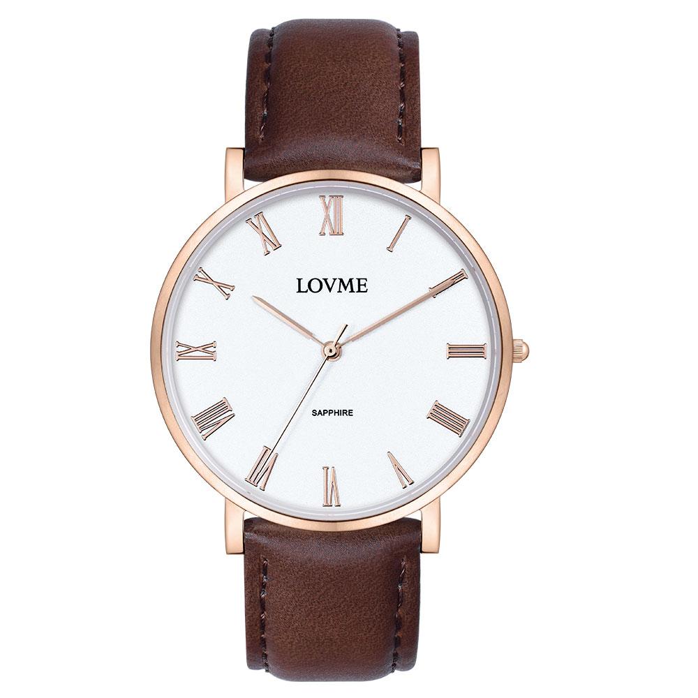 LOVME 羅馬學院風時尚手錶-IP玫x白咖/38mm