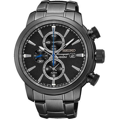 SEIKO 爭霸天下二地時區鬧鈴計時腕錶(SNAF49P1)-IP黑/44mm