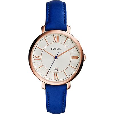 FOSSIL Jacqueline 羅馬佳人時尚女錶-玫瑰金框x藍/36mm