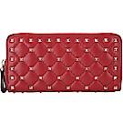 VALENTINO Rockstud Spike 絎縫羊皮菱格鉚釘拉鍊長夾(紅色)