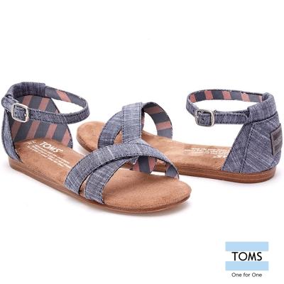 TOMS 繫踝帆布平底涼鞋-孩童款(藍)