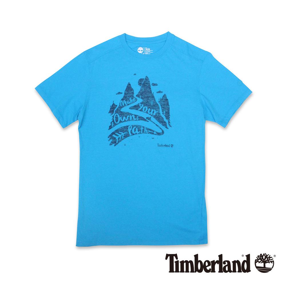 Timberland 男款藍色圓領印花短袖T恤
