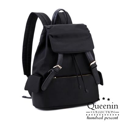 DF Queenin日韓 - 韓版人氣尼龍雙皮飾後背包-黑色