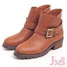 JMS-不敗款簡約單扣環工程短靴-棕色