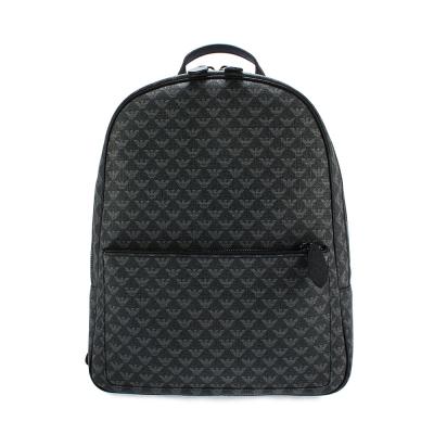 Emporio Armani 滿版LOGO防潑水PVC後背包-黑灰色