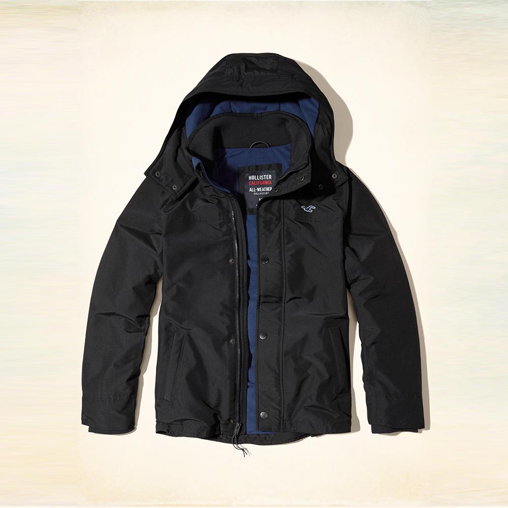 Hollister HCO 海鷗 四季撲棉風衣外套-黑色