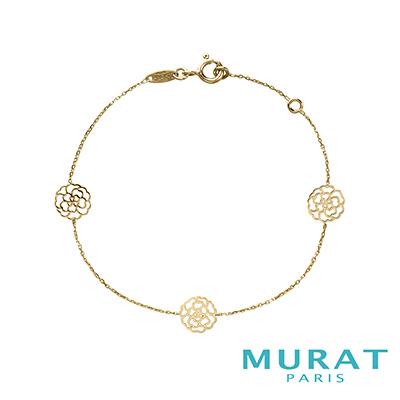 MURAT Paris米哈巴黎 9K金系列 三朵玫瑰花手鍊