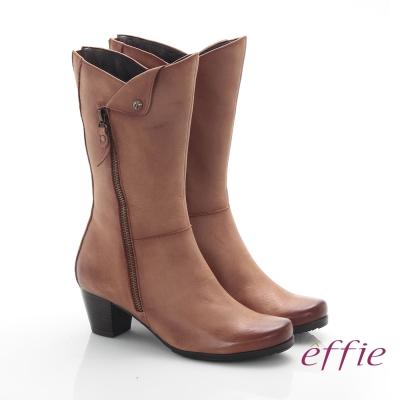 effie 魅力時尚 全真皮帥氣經典騎士中筒靴 茶色