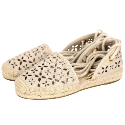 Michael Kors Darci Canva 簍空花朵綁帶草編鞋(女鞋/卡其)