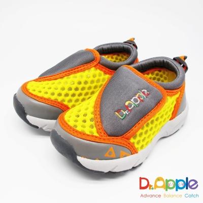 Dr. Apple 機能童鞋 簡約流行大網格休閒童鞋款 黃