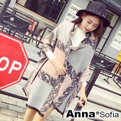 AnnaSofia-蕾絲雙色格拉毛-仿羊絨大披肩圍巾-灰粉系