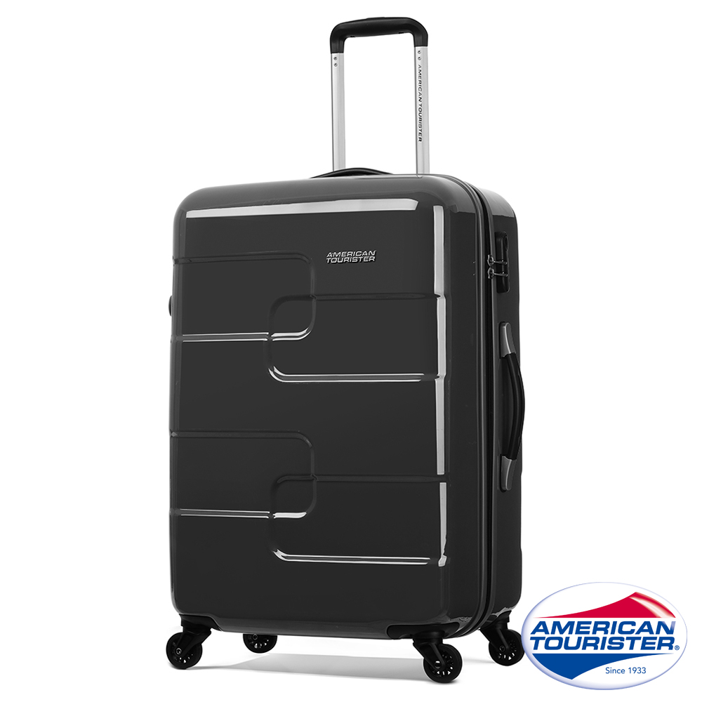 AT美國旅行者 27吋Puzzle Cube炫彩立體拼圖硬殼四輪行李箱(炭黑)