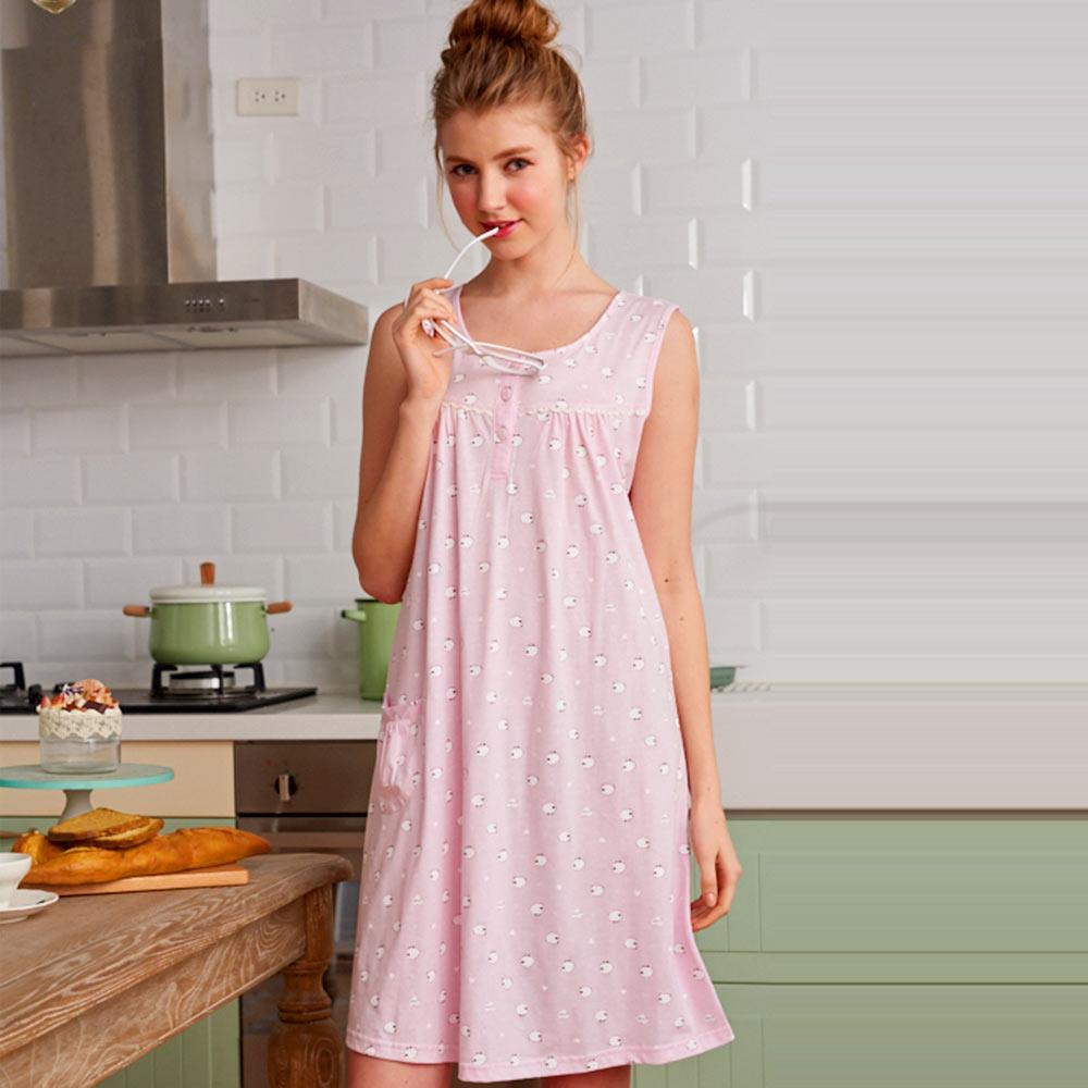 睡衣 100%精梳棉柔短袖連身睡衣(65025)綿羊牧場 粉色-台灣製造 蕾妮塔塔