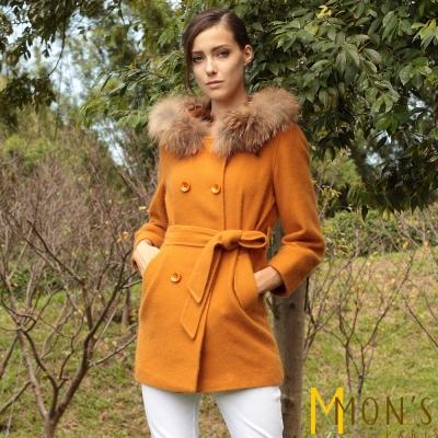 MONS-雙排釦貉毛貂絨大衣-外套-共三色