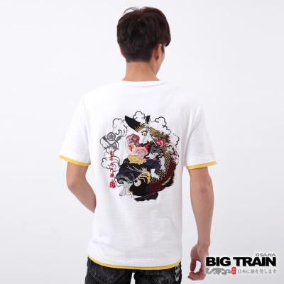 BIG TRAIN 鬼若丸鬥鯉圓領T-男-白