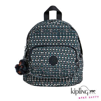 Kipling-迷你後背包-藍綠菱格紋印花