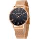 MANGO 羅馬數字米蘭錶帶時尚腕錶-黑/玫瑰金-34mm product thumbnail 1