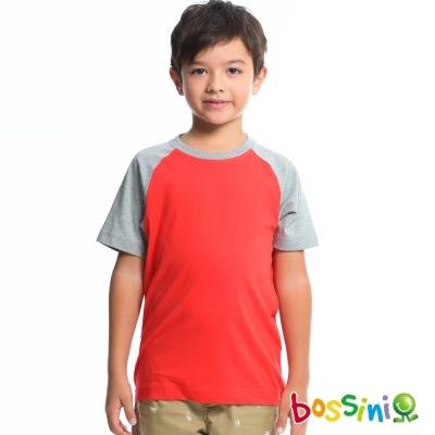 bossini男童-配色純棉T恤10茄紅