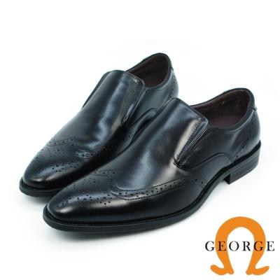 GEORGE 喬治-牛津雕花側V鬆緊帶直套式紳士鞋-黑色