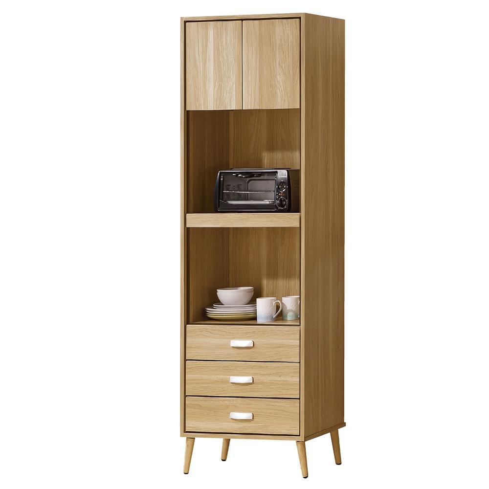 品家居 伊爾莎2尺收納高餐櫃-59.5x40x197.3cm-免組
