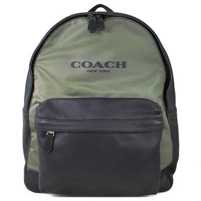 COACH-品牌大Logo墨綠黑撞色皮革尼龍拼接後背包-大