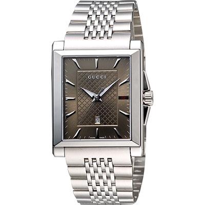 GUCCI G-Timeless 格紋時尚腕錶-咖啡/32mm