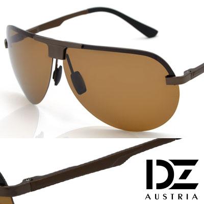 DZ T字飾圓弧半框 抗UV 偏光太陽眼鏡墨鏡(銅咖系)