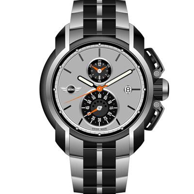 MINI Swiss Watches 簡約運動計時腕錶-鋼帶/45mm