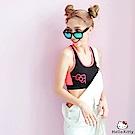 KITTY運動系列~亮色拼接工字挖背半截式背心.3色-OB大尺碼