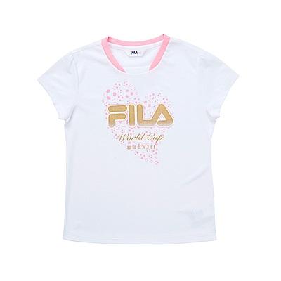 FILA KIDS 女童吸濕排汗上衣-白 5TES-4333-WT