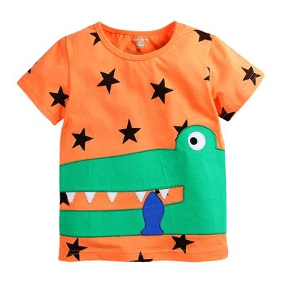 歐美風格設計 小童中童男童短棉T居家外出 星星鱷魚 橘色