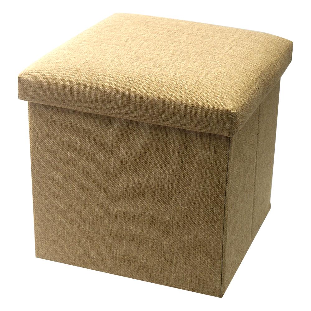 耐重簡約麻布收納椅31cm(卡其色)