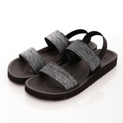 WAVE3【女】台灣製女金蔥鬆緊帶涼鞋~黑