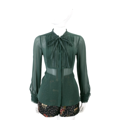 Max Mara 墨綠色蕾絲領結雪紡紗襯衫