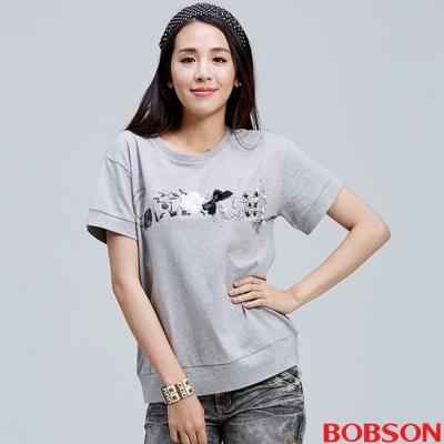 BOBSON 女款鑽飾圖騰上衣