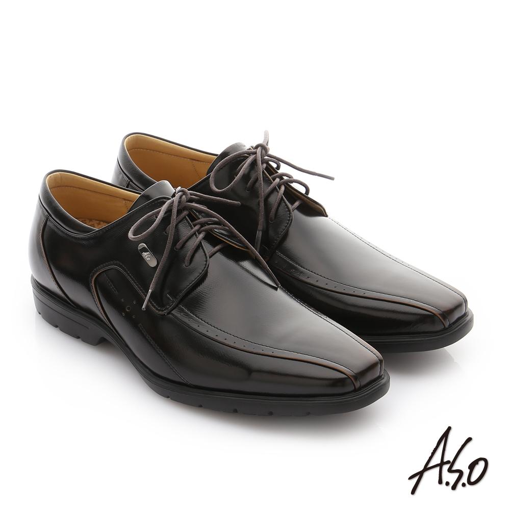 A.S.O 奈米健康氣墊  鏡面摔花牛皮綁帶紳士休閒皮鞋 茶色
