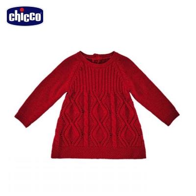 chicco英倫針織洋裝 -紅(12個月-18個月)