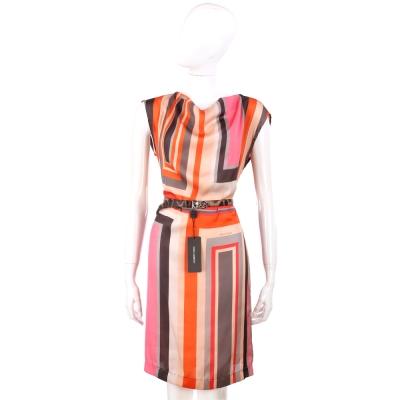CERRUTI 1881 橘色系幾何圖形無袖洋裝(不含腰帶)