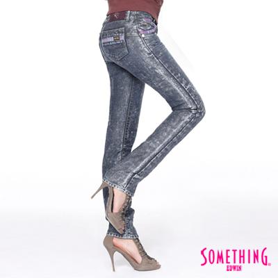 【SOMETHING】目光聚焦 植絨印花直筒保溫褲-女款(拔洗藍)