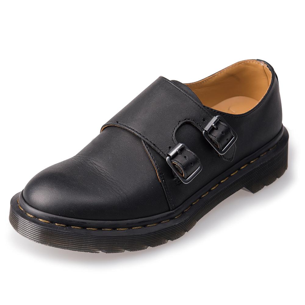 Dr.Martens-經典JULES雙側扣擦色孟克鞋-黑色R16613001