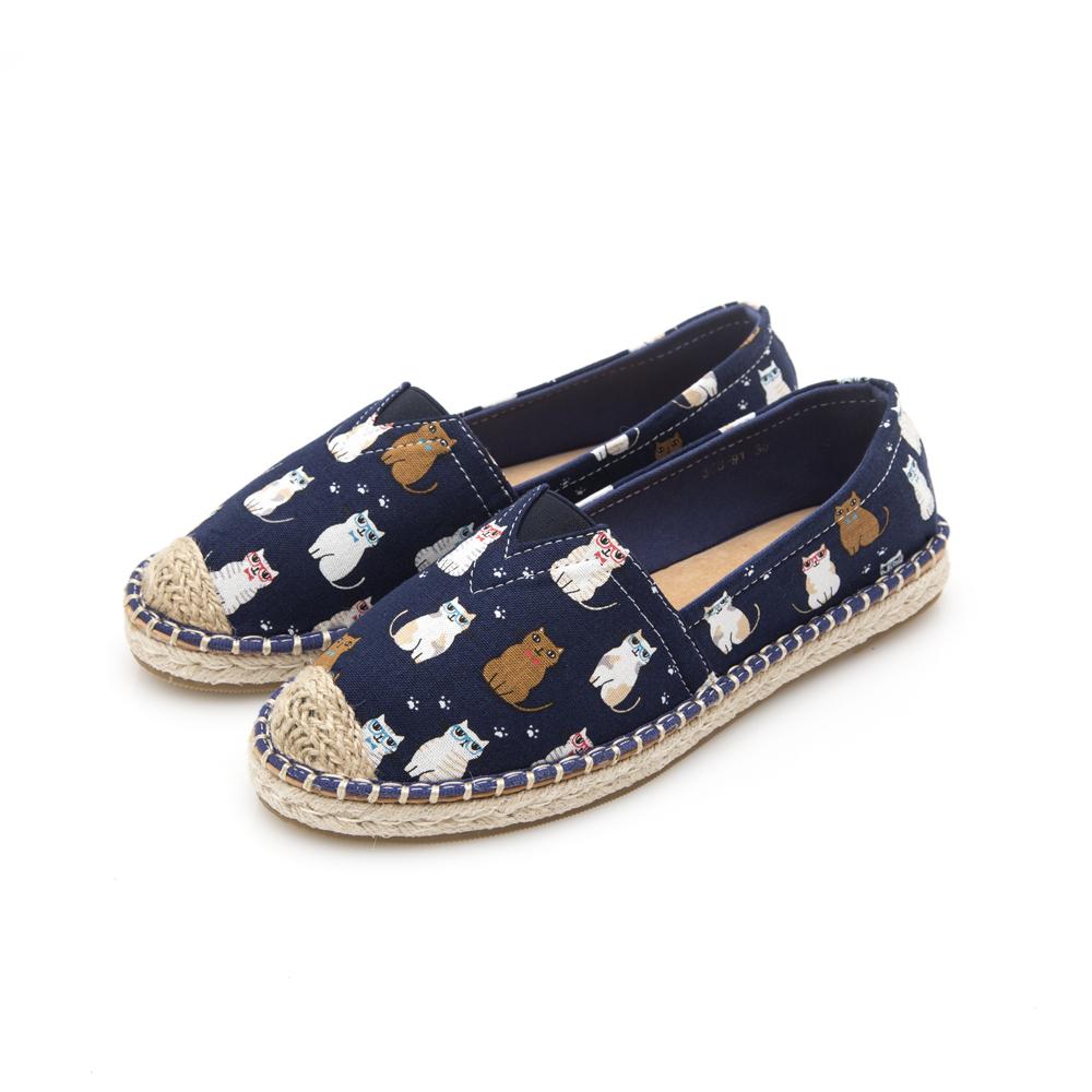 JMS-俏皮童趣Q版貓咪帆布懶人鞋-藍色