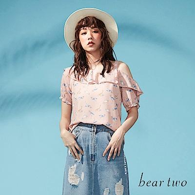 beartwo 網路獨家-青春小鶴圖案雪紡荷葉上衣(二色)