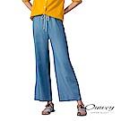 OUWEY歐薇 高腰繫繩輕薄牛仔寬褲(藍)