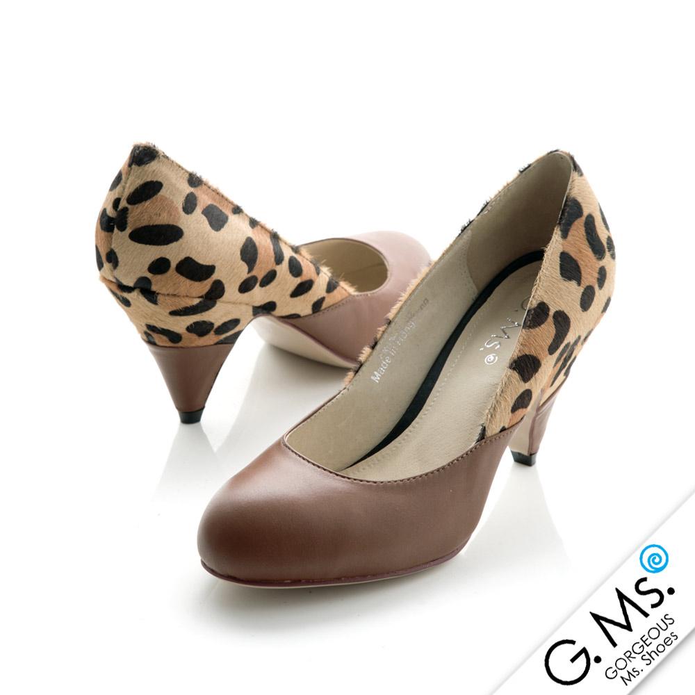 G.Ms. 搶眼奢華馬毛動物紋錐形跟鞋- 豹紋x咖