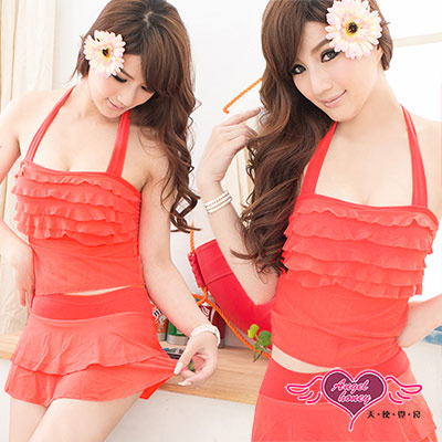 天使霓裳 亮麗優雅荷葉邊 兩件式泳裝(橘)