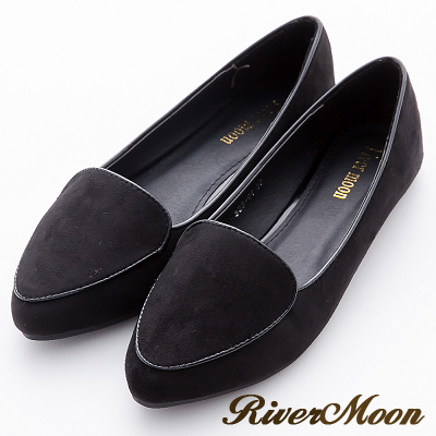 River&Moon加大尺碼-韓版極簡細絨滾邊尖頭樂福鞋-黑系