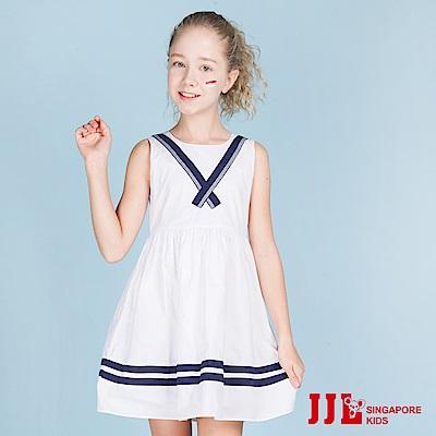 JJLKIDS  清新海軍風舒適棉無袖洋裝(白色)